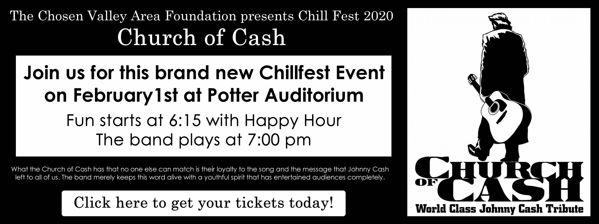 Chosen Valley Community Foundaiton - Chill Fest 2020 - Church of Cash concert